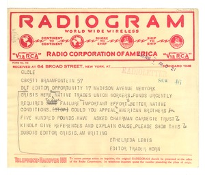 Thumbnail of Radiogram from Ethelreda Lewis to Opportunity