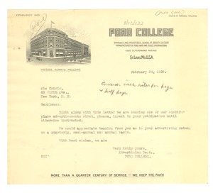 Thumbnail of Letter from Poro College to Crisis