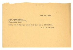 Thumbnail of Telegram from W. E. B. Du Bois to Jennie Porter