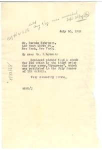 Thumbnail of Letter from W. E. B. Du Bois to Bernie Robynson