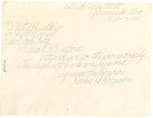 Thumbnail of Letter from Bernie H. Robynson to W. E. B. Du Bois