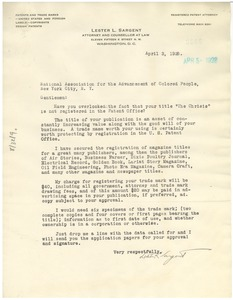 Thumbnail of Letter from Lester L. Sargent to N.A.A.C.P.
