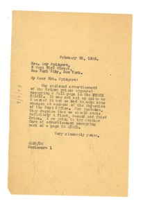 Thumbnail of Letter from W. E. B. Du Bois to Amy Spingarn