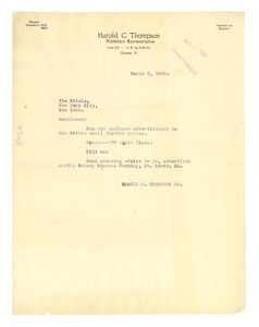 Thumbnail of Letter from Harold C. Thompson to Crisis