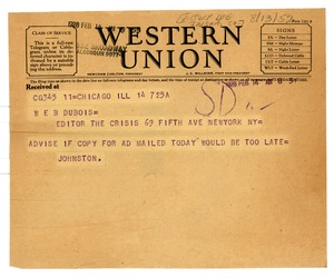 Thumbnail of Telegram from Victory Life Insurance Company to W. E. B. Du Bois