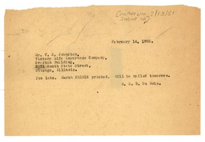 Thumbnail of Telegram from W. E. B. Du Bois to Victory Life Insurance Company
