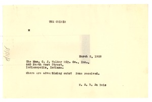 Thumbnail of Telegram from W. E. B. Du Bois to C.J. Walker Manufacturing Co.