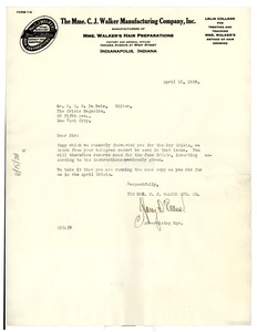 Thumbnail of Letter from Madam C.J. Walker Manufacturing Company to W. E. B. Du Bois