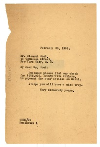 Thumbnail of Letter from W. E. B. Du Bois to Clement Wood