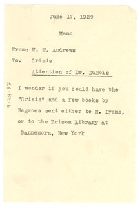 Thumbnail of Memorandum from W. T. Andrews to The Crisis