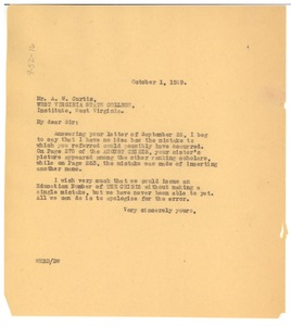 Thumbnail of Letter from W. E. B. Du Bois to A. W. Curtis