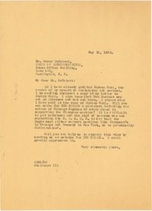 Thumbnail of Letter from W. E. B. Du Bois to Oscar De Priest