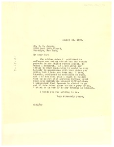 Thumbnail of Letter from W. E. B. Du Bois to C. D. Jacobs