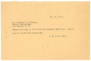 Thumbnail of Telegram from W. E. B. Du Bois to Mordecai W. Johnson