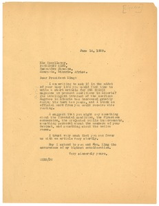 Thumbnail of Letter from W. E. B. Du Bois to President of Liberia