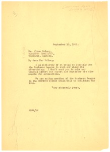 Thumbnail of Letter from W. E. B. Du Bois to National Negro Business League