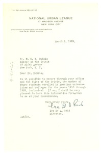 Thumbnail of Letter from National Urban League to W. E. B. Du Bois