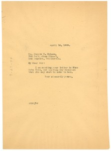Thumbnail of Letter from W. E. B. Du Bois to Eugene C. Nelson
