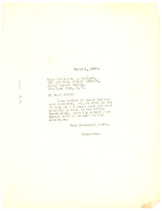 Thumbnail of Letter from Crisis to New York Public Library