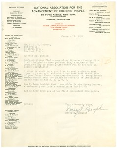 Thumbnail of Letter from N.A.A.C.P. to W. E. B. Du Bois