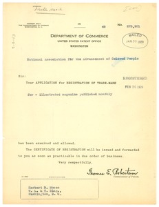 Thumbnail of Form letter from United States Patent Office to N.A.A.C.P.