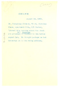 Thumbnail of Memorandum from T. J. Calloway to W. E. B. Du Bois