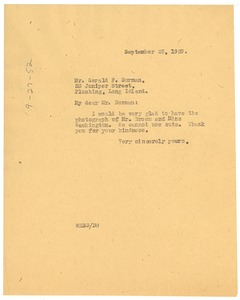 Thumbnail of Letter from W. E. B. Du Bois to Gerald F. Norman