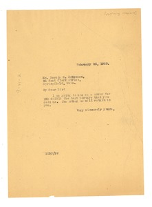 Thumbnail of Letter from W. E. B. Du Bois to Bernie H. Robynson