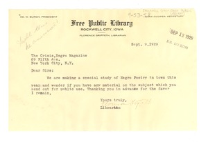 Thumbnail of Letter from Rockwell City Free Public Library to Crisis