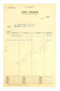 Thumbnail of Invoice from Crisis to St. Augustine's College