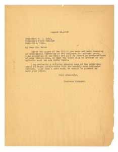 Thumbnail of Letter from Crisis to Tennessee State College