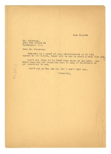 Thumbnail of Letter from W. E. B. Du Bois to Thurston's Cafeteria, inc.