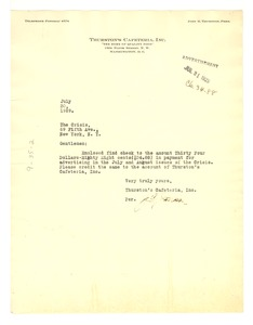 Thumbnail of Letter from Thurston's Cafeteria, inc. to Crisis