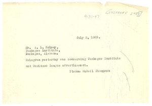 Thumbnail of Telegram from Crisis to Tuskegee Institute