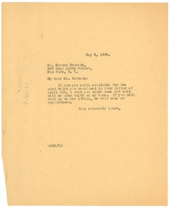Thumbnail of Letter from W. E. B. Du Bois to Harmon Unthank