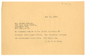 Thumbnail of Telegram from W. E. B. Du Bois to Harmon Unthank