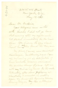 Thumbnail of Letter from Harmon Unthank to W. E. B. Du Bois