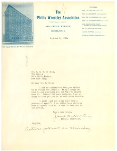 Thumbnail of Letter from Phillis Wheatley Association to W. E. B. Du Bois