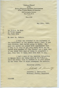 Thumbnail of Letter from the National Board of the YWCA to W. E. B. Du Bois
