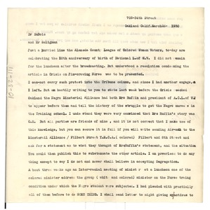 Thumbnail of Letter from Delilah L. Beasley to W. E. B. Du Bois and Herbert J. Seligmann