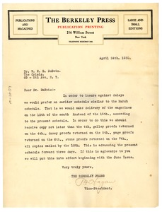Thumbnail of Letter from the Berkeley Press to W. E. B. Du Bois