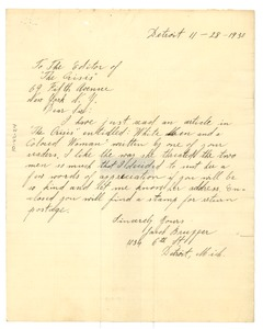Thumbnail of Letter from Jacob Brugger to the Crisis