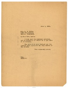 Thumbnail of Letter from W. E. B. Du Bois to E. S. Davis