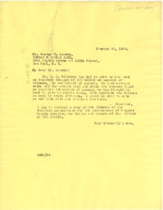 Thumbnail of Letter from W. E. B. Du Bois to George C. Loomis