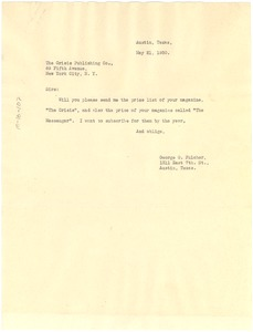Thumbnail of Letter from George G. Fulcher to the Crisis