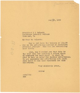 Thumbnail of Letter from W. E. B. Du Bois to Hartshorn Memorial College