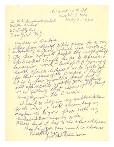 Thumbnail of Letter from J. W. Hutchinson to W. E. B. Du Bois