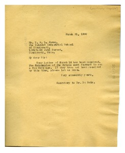 Thumbnail of Letter from Daisy Wilson to P. W. L. Jones