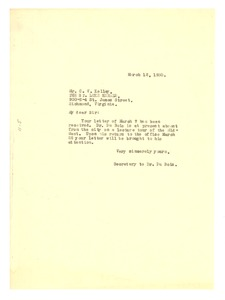 Thumbnail of Letter from Daisy Wilson to C. V. Kelley