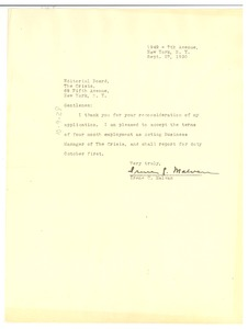 Thumbnail of Letter from Irene C. Malvan to the Crisis